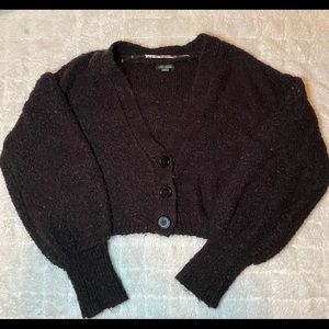 cropped black button sweater
